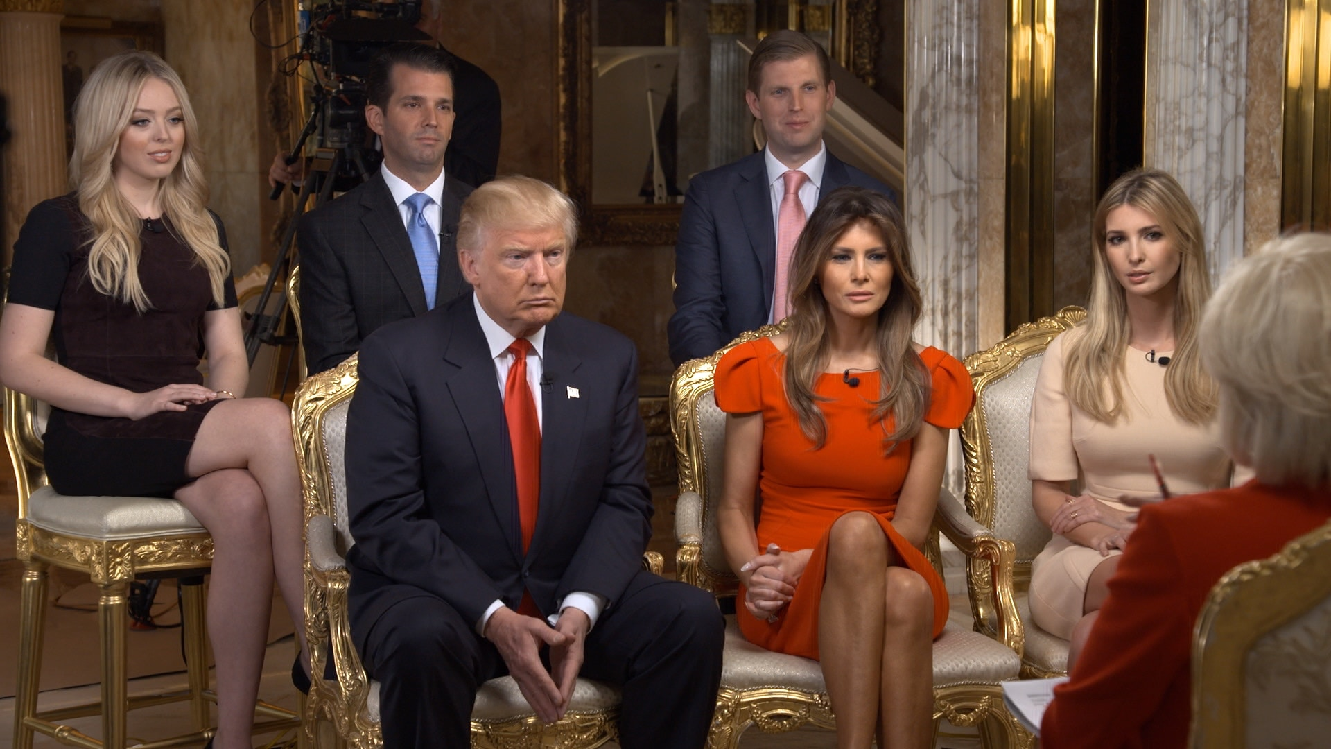 NEW YORK - NOVEMBER 11: 60 MINUTES Correspondent  Lesley Stahl interviews President-elect Donald J. Trump and his family shown here from left: Tiffany Trump, Donald Trump, Jr., Donald Trump, Eric Trump, Melania Trump, Ivanka Trump at his Manhattan home Friday afternoon (November 11, 2016).  The sit-down was his first post-election interview for television and will be broadcast on 60 MINUTES Sunday, Nov. 13 (7;00-8:00PM, ET/PT) on the CBS Television  Network. Image is a screen grab. (Photo by CBS via Getty Images)