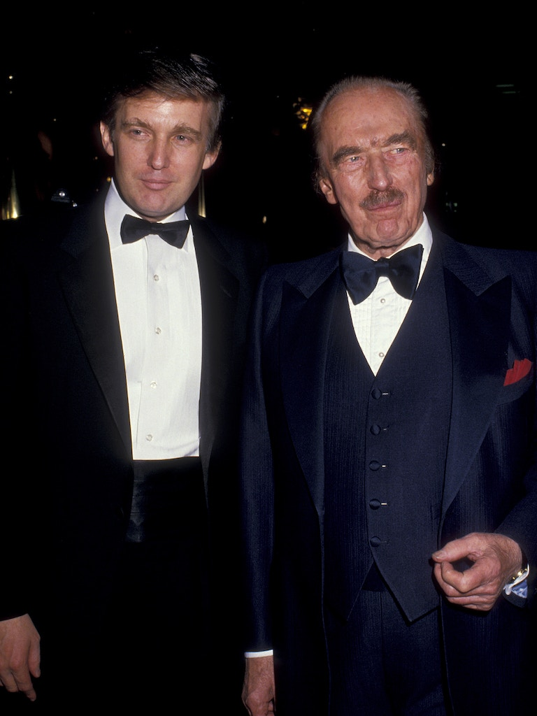 "NEW YORK CITY - DECEMBER 12:  Donald Trump and Fred Trump attend ""The Art of the Deal"" Book Party on December 12, 1987 at Trump Tower in New York City. (Photo by Ron Galella/WireImage)"
