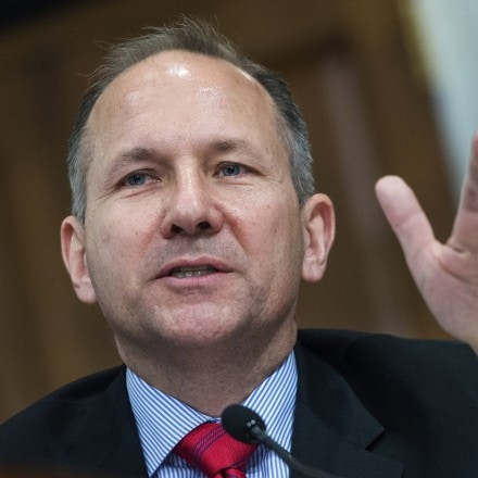 UNITED STATES - MAY 24: Rep. Lloyd Smucker, R-Pa., questions OMB Director Mick Mulvaney during a House Budget Committee hearing in Longworth Building titled