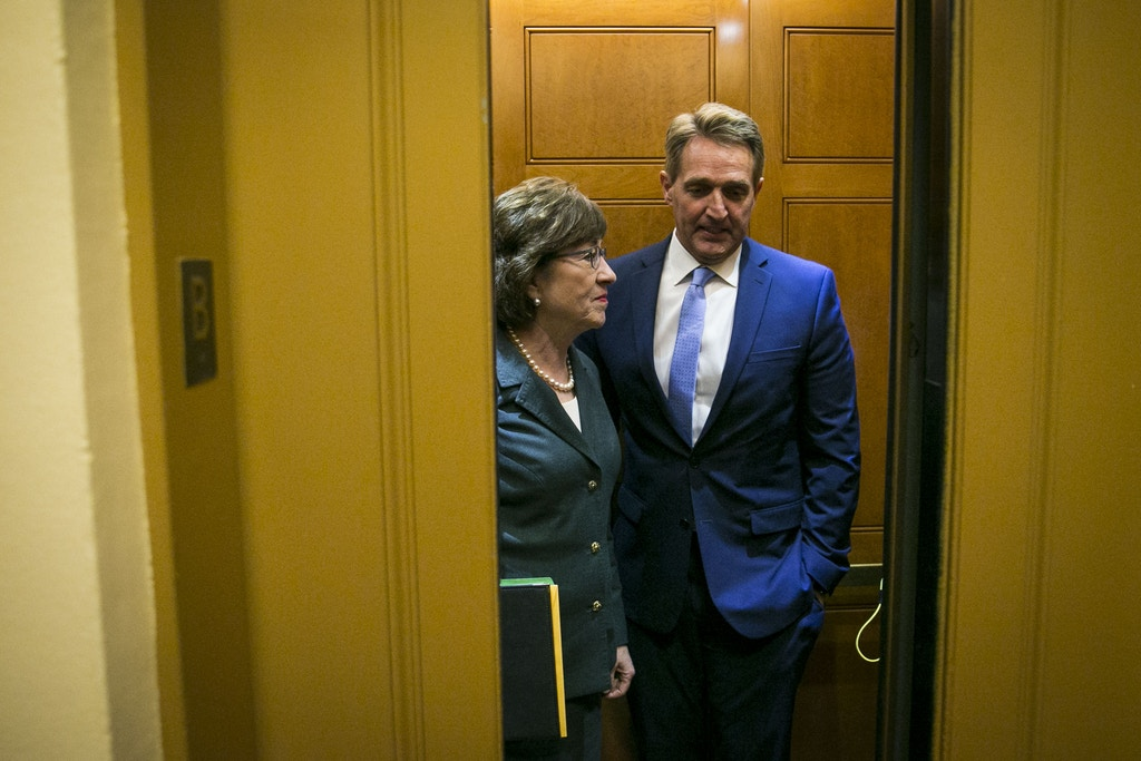 WASHINGTON, DC - DECEMBER 12:  U.S. Sen. Susan Collins (R-ME) and Sen. Jeff Flake (R-AZ) arrive for the weekly Senate Republican's policy luncheon, on Capitol Hill, December 12, 2017 in Washington, DC. (Photo by Al Drago/Getty Images)