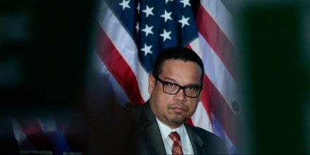 Democratic National Chair candidate, Keith Ellison, looks on as the audience cheers for him as the Democratic National Committee holds an election to choose their next chairperson at their winter meeting in Atlanta, Georgia. February 25, 2017. REUTERS/Chris Berry - RC1DA1E73010