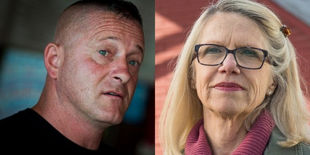 At left, Richard Ojeda speaks inside Hot Cup in Logan, Va., on July 5, 2018. At right, Carol Miller is photographed on March 19, 2018.