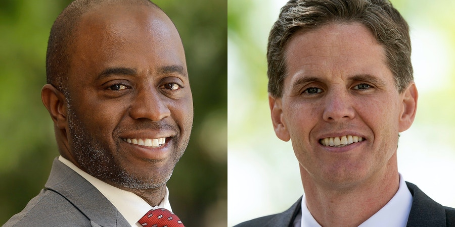 This April 24, 2018 photo shows Tony Thurmond in Sacramento, Calif. (AP Photo/Rich Pedroncelli) In this Friday, April 27, 2018 photo, Marshall Tuck poses at his campaign headquarters in Culver City, Calif. (AP Photo/Damian Dovarganes)