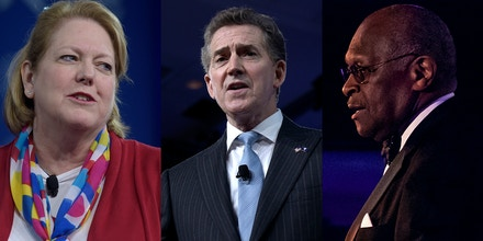 Top photo: From left, Ginni Thomas, wife of Supreme Court Justice Clarence Thomas and a special correspondent for the Daily Caller, and Heritage Foundation President, former South Carolina Sen. Jim DeMint, both speak at the Conservative Political Action Conference on Feb. 23, 2017. At right, Herman Cain speaks at the Third Annual Multicultural Media Correspondents Dinner at the National Press Club in Washington, D.C. on May 24, 2018.
