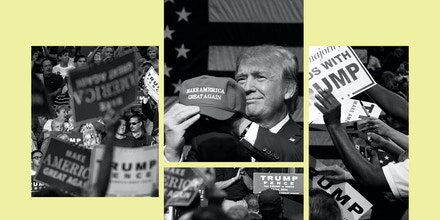 Then-Republican presidential candidate Donald Trump addresses supporters in Dallas, Texas, on Sept. 14, 2015, and in Akron, Ohio, on Aug. 22, 2016.