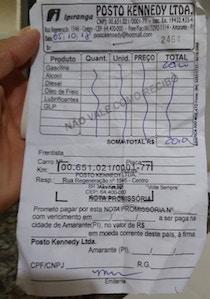 Vale combustível distribuído em Amarante nas vésperas das eleições de 2018.
