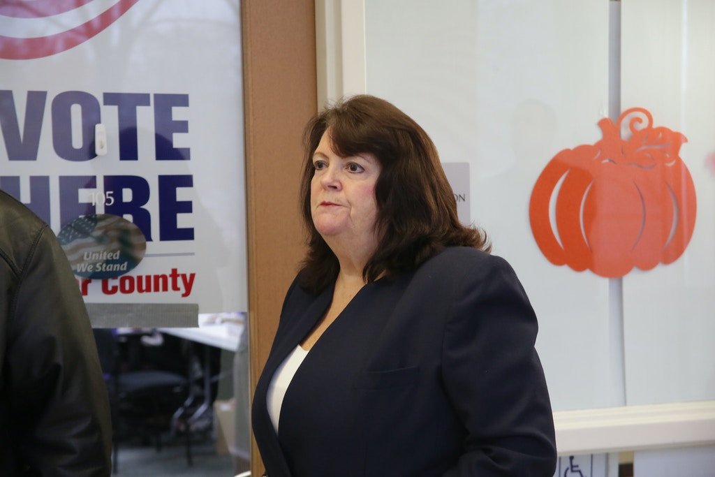 Porter County Clerk and Election Board member Karen Martin. Press conference held at noon Thursday outside the voter registration department on the lower level of the Porter County Administration Center in Valparaiso.
