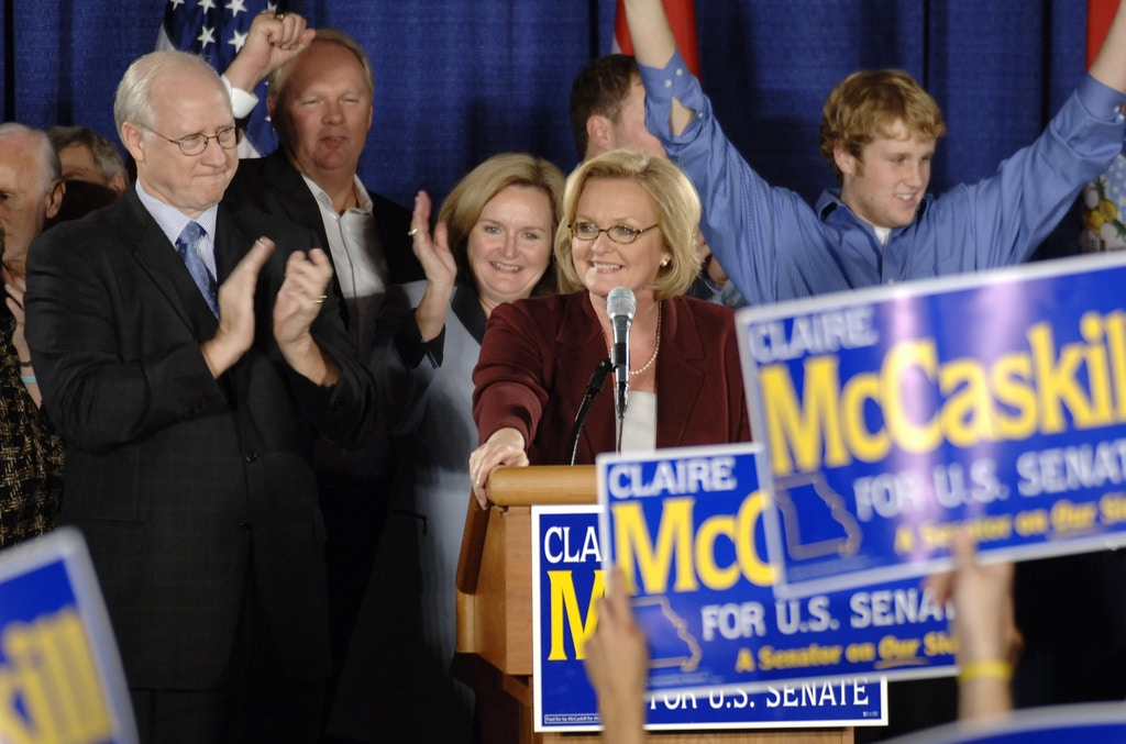 Democratic Senate candidate Claire McCaskill is surrounded by family as she accepts cheers from supporters after being elected over incumbant Republican Sen. Jim Talent during an election watch party Wednesday morning,  Nov. 8, 2006, in St. Louis. (AP Photo/L.G. Patterson)