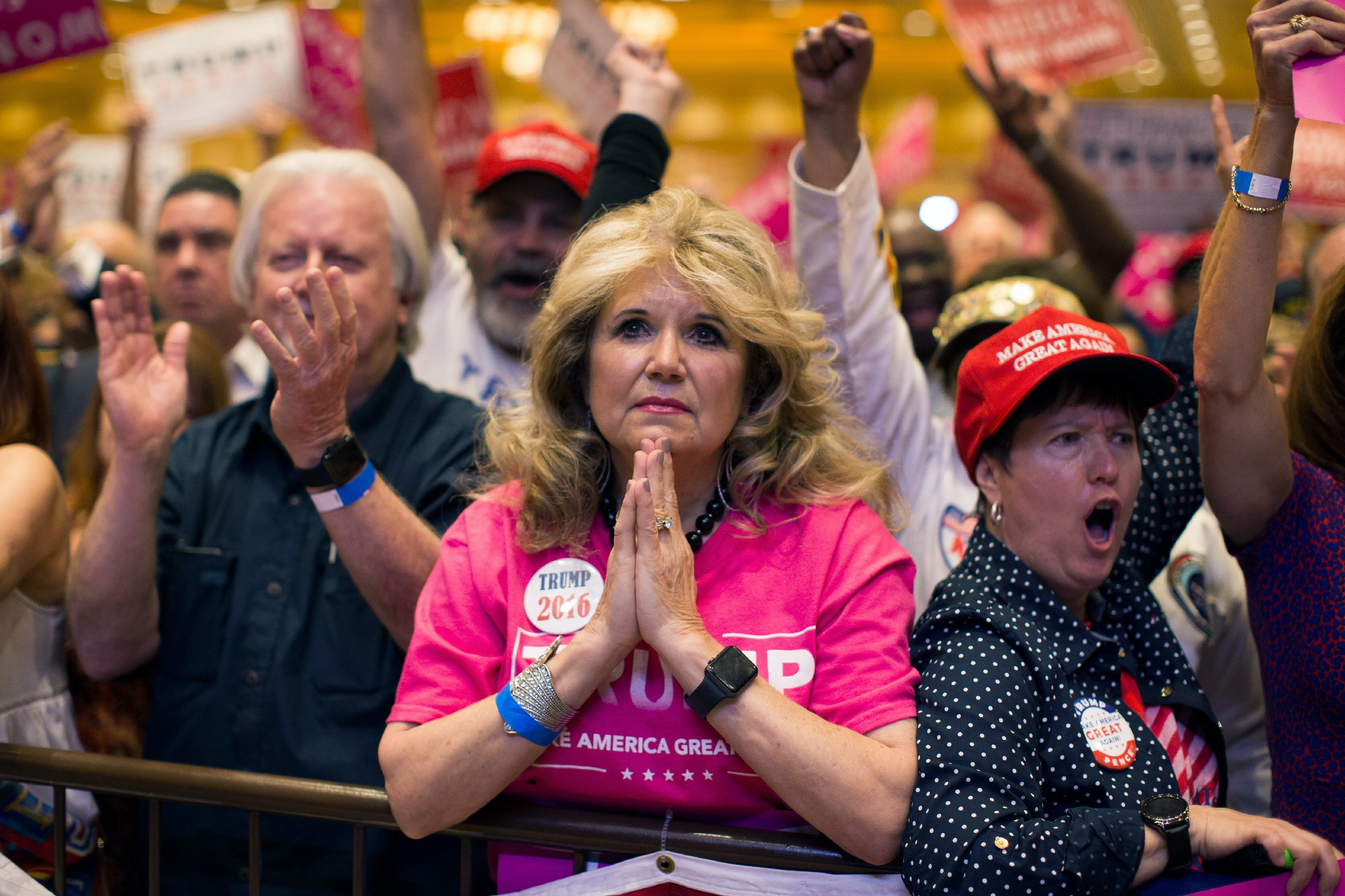 Supporters of Republican presidential candidate Donald Trump watch him speak during a campaign rally, Sunday, Oct. 30, 2016, in Las Vegas. (AP Photo/Evan Vucci)