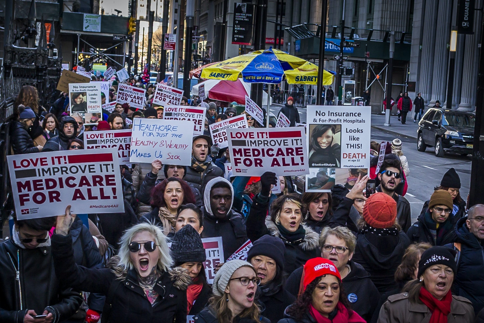 "Hundreds of members of National Nurses United, and supporters of ""Medicare for All"" in New York City, call out the health care profiteers, rally for a single-payer national health insurance program in the U.S. and oppose the repeal of the ACA/Obamacare on January 15, 2017. (Photo by Michael Nigro) *** Please Use Credit from Credit Field ***(Sipa via AP Images)"