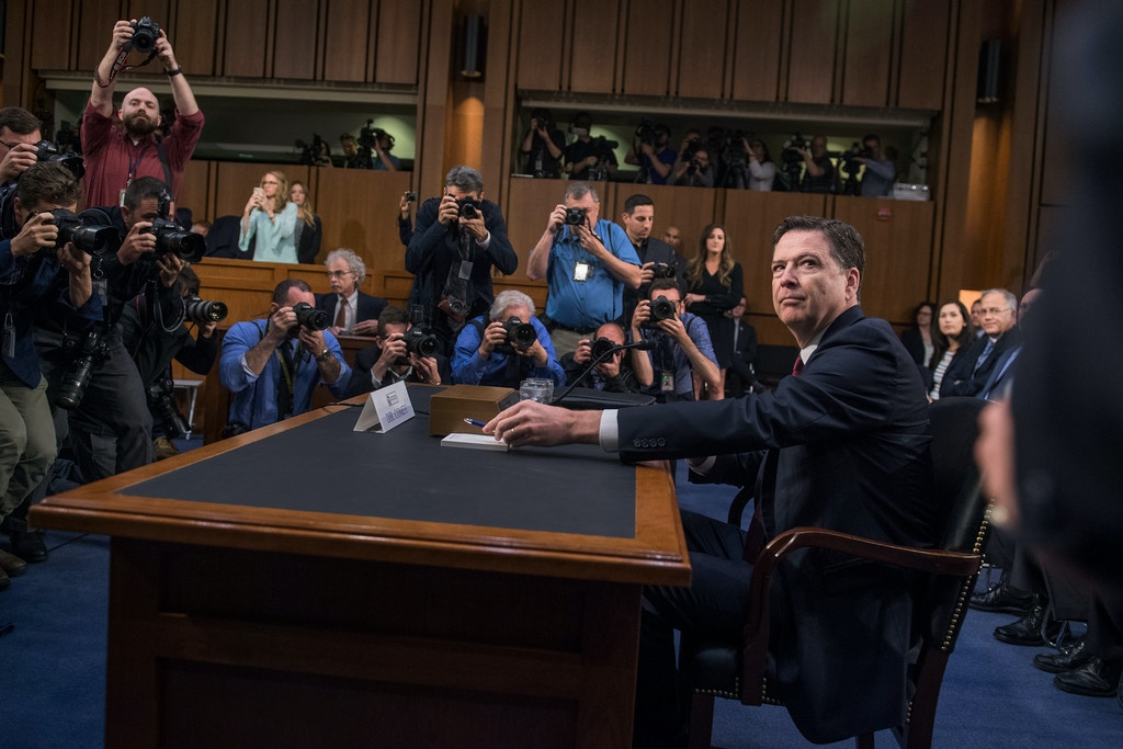 UNITED STATES - JUNE 8: Former FBI Director James Comey arrives to testify about President Trump's possible campaign ties to Russia before a Senate Select Intelligence Committee hearing on June 8, 2017. (Photo By Tom Williams/CQ Roll Call) (CQ Roll Call via AP Images)