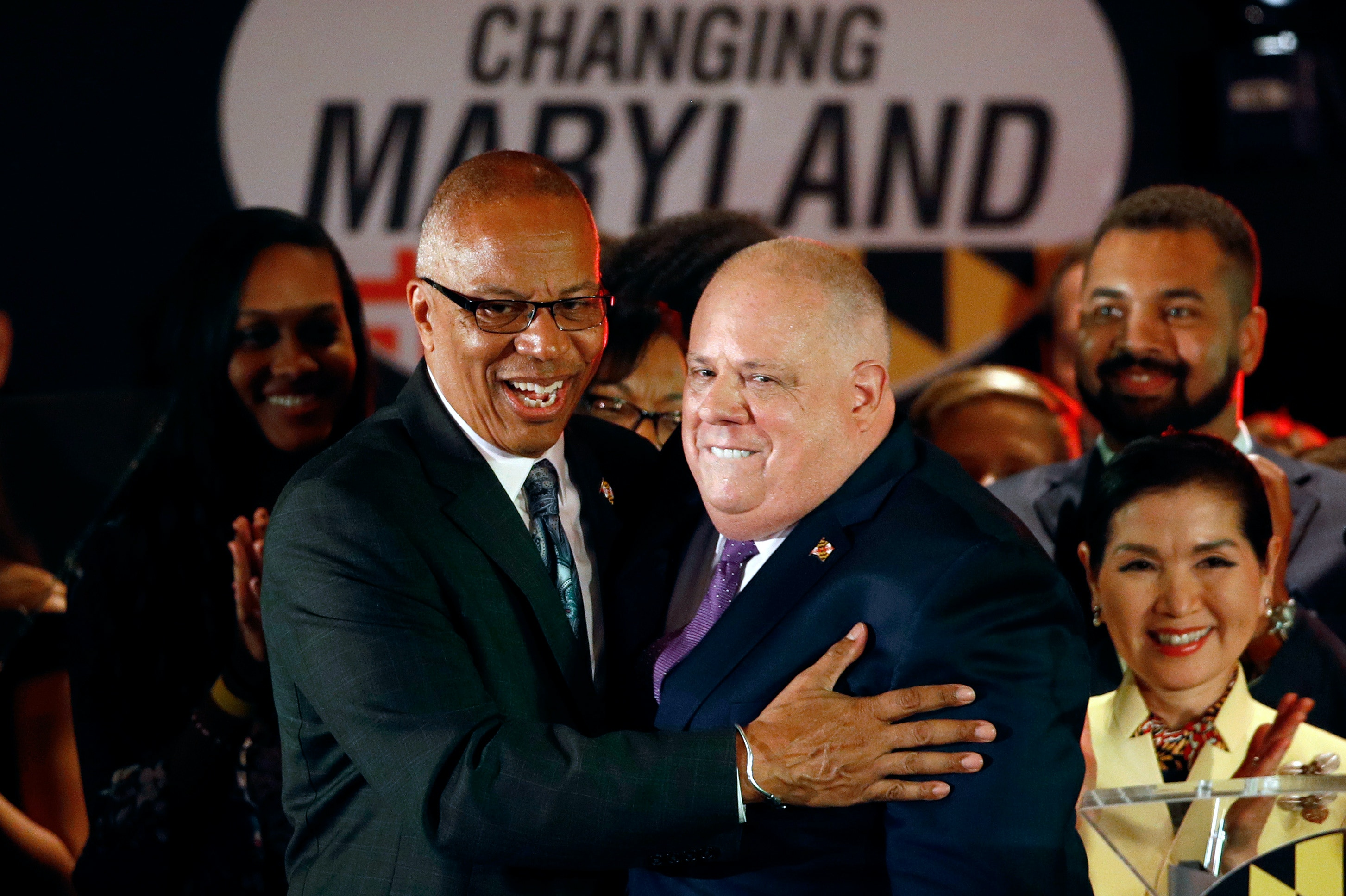 Maryland Gov. Larry Hogan, right, celebrates with Lt. Gov. Boyd Rutherford at an election night party, Tuesday, Nov. 6, 2018, in Annapolis, Md. Hogan earned a second term after defeating Democratic opponent Ben Jealous. (AP Photo/Patrick Semansky)
