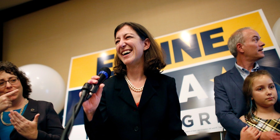 Elaine Luria speaks to a room full of supporters after upsetting incumbent Scott Taylor to win Virginia's 2nd Congressional District on Tuesday, Nov. 6, 2018, night in Virginia Beach. (Stephen M. Katz/The Virginian-Pilot via AP)