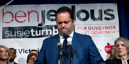 Maryland Democratic gubernatorial candidate Ben Jealous pauses as he speaks to the crowd at an election night party, Tuesday, Nov. 6, 2018, in Baltimore, Md., after conceding to Maryland Gov. Larry Hogan. (AP Photo/Jose Luis Magana)
