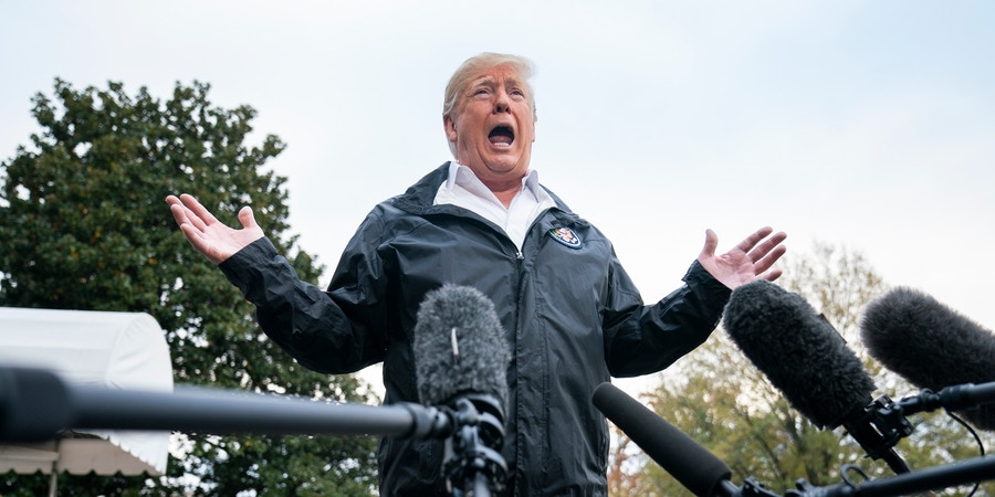 U.S. President Donald J. Trump speaks to the media before he departs the White House for California, where he is scheduled to view damage from that state's wildfires, in Washington, DC, USA, 17 November 2018. Seventy-four people have been killed and more than 1,000 people are missing due to multiple devastating fires across the state. The President spoke about the investigation into Jamal Khashoggi's murder, the Mueller investigation, and the migrant caravan approaching the southern border. Credit: Jim LoScalzo / Pool via CNP   usage worldwide Photo by: Jim LoScalzo/picture-alliance/dpa/AP Images