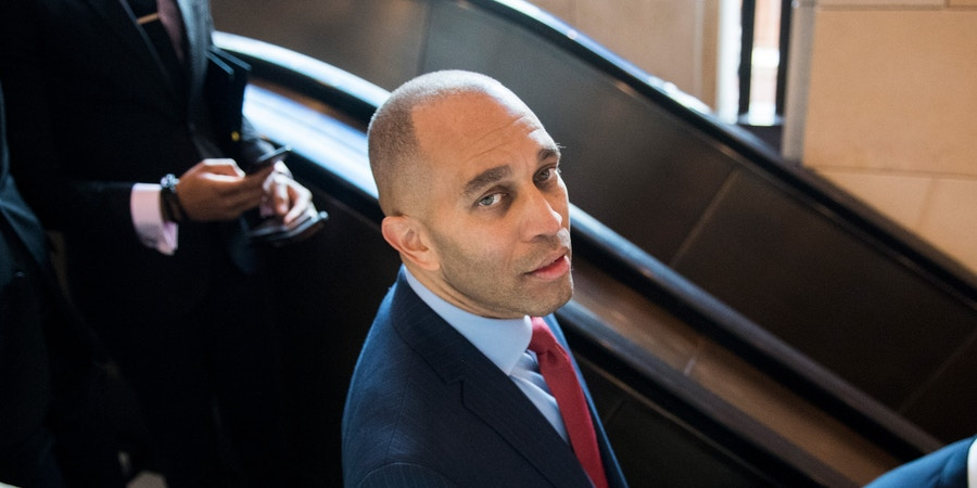 UNITED STATES - NOVEMBER 27: Rep. Hakeem Jeffries, D-N.Y., makes his way to the CVC Auditorium for the House Democrats' organizational caucus meeting on Wednesday, Nov. 28, 2018. (Photo By Bill Clark/CQ Roll Call) (CQ Roll Call via AP Images)