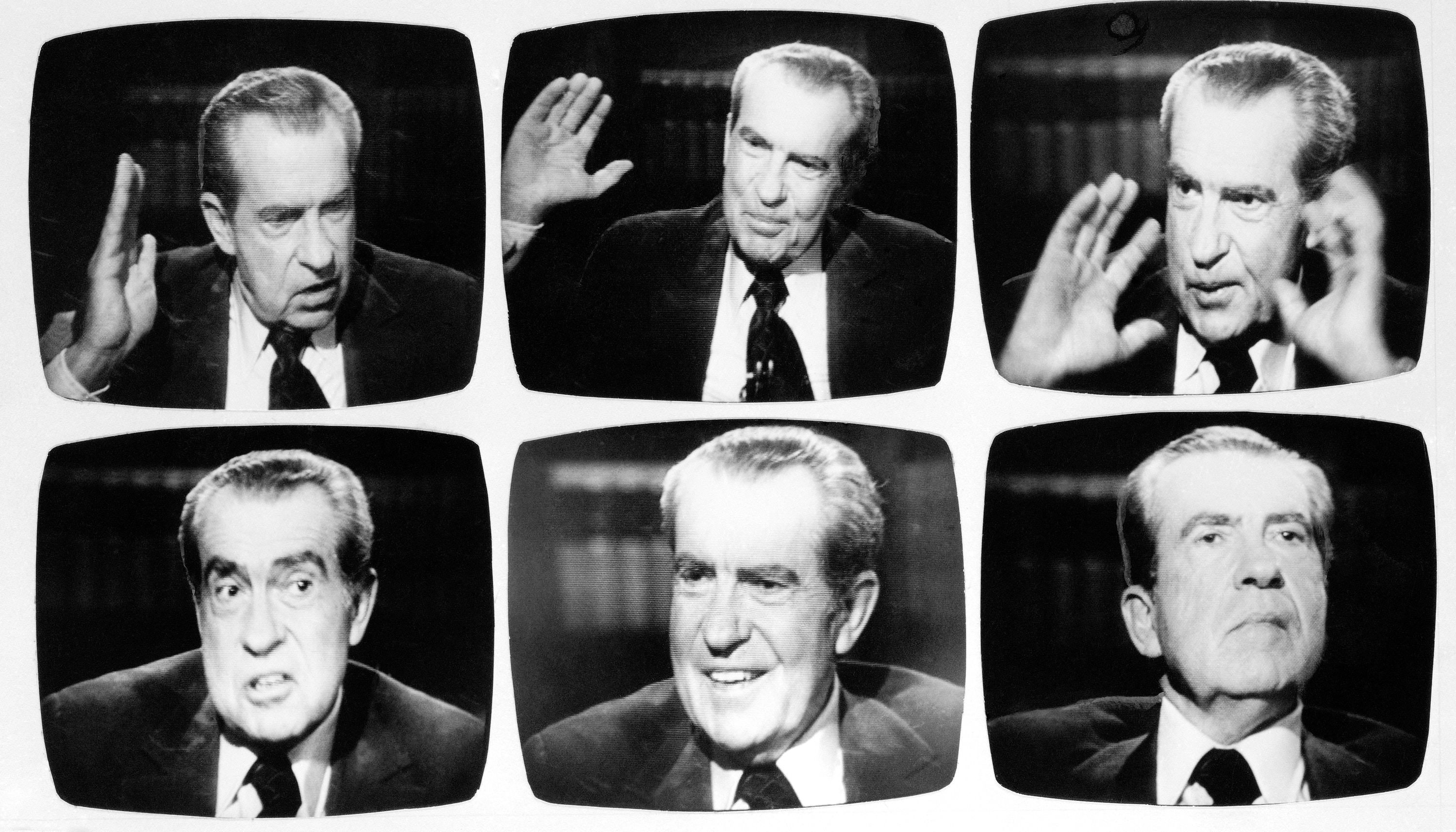 Former President Richard Nixon exhibited these expressions during Wednesday night, May 5, 1977 telecast of interview with David Frost. During the paid for interview, Nixon insisted he had not obstructed justice and had not committed in his own opinion an impeachable offense. Photos from WNEW TV monitor. (AP Photo/Ray Stubblebine)