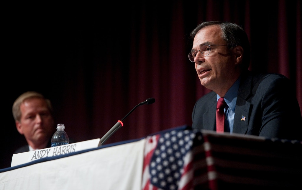 UNITED STATES - OCTOBER 17: From right, Andy Harris, Republican candidate for Congress from the 1st district of Maryland, participates in the candidate forum with Rep. Frank Kratovil, D-Md., and two independent candidates at Centreville High School in Centreville, Md., on Sunday, Oct. 17, 2010. (Photo By Bill Clark/Roll Call via Getty Images) (CQ Roll Call via AP Images)