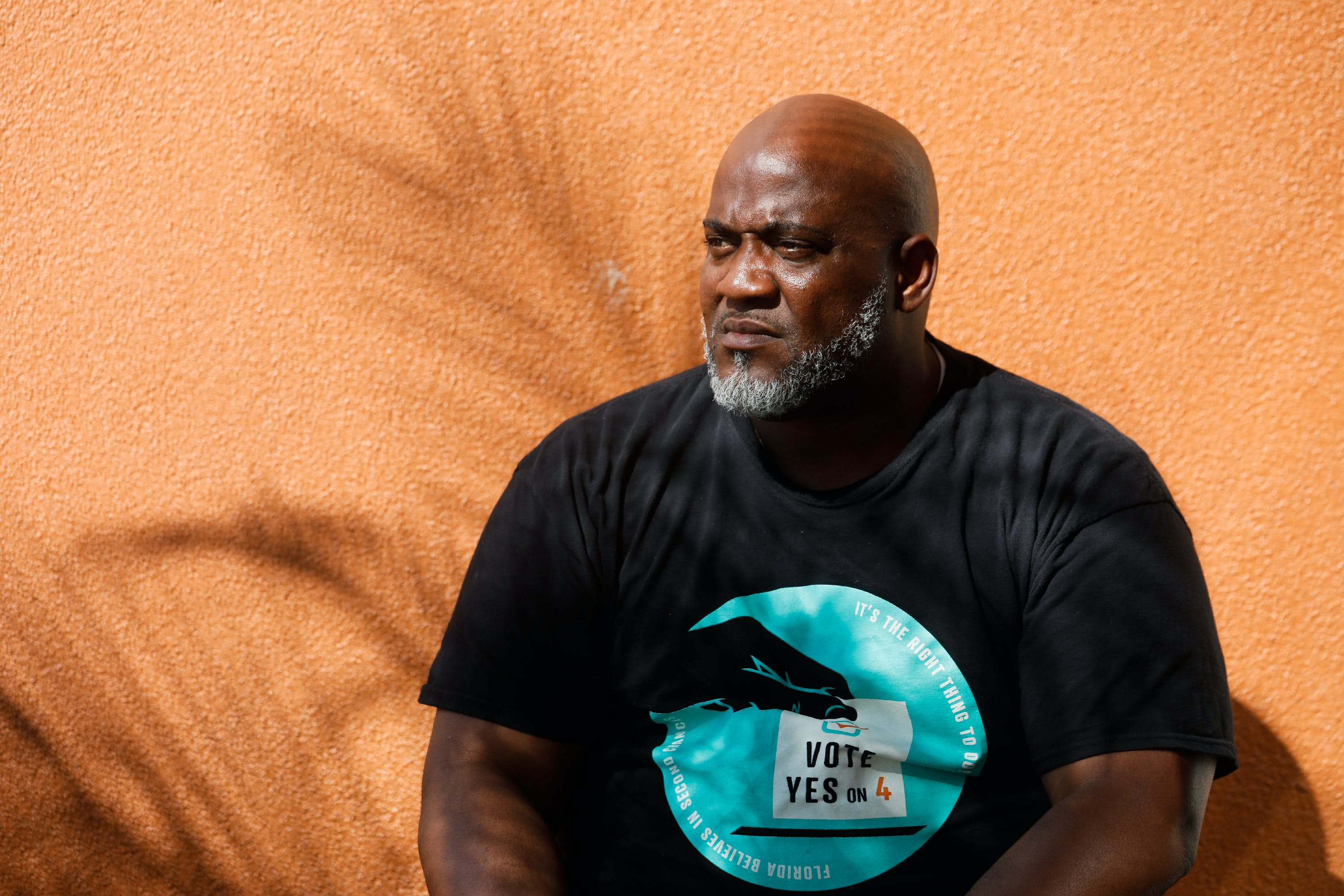 (from left to right) Desmond Meade poses for a portrait in Orlando on Monday, October 29, 2018. In the upcoming election on November 6, Floridians will have the opportunity to vote on Amendment 4, which would give people who have been convicted of a felony the restored right to vote. Credit: Eve Edelheit for The Intercept