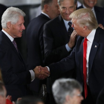 WASHINGTON, DC - JANUARY 20:  President Donald Trump greets former President Bill Clinton at the Inaugural Luncheon in the US Capitol January 20, 2017 in Washington, DC. President Donald Trump is attending the luncheon along with other dignitaries after being sworn in as the 45th President of the United States. (Photo by Aaron P. Bernstein/Getty Images)