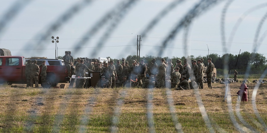 U.S. troops gather in their base camp in Donna, Tex. on Nov. 5, 2018. Thousands of troops were deployed to the border in anticipation of the migrant caravan traversing Mexico.Photo: Verónica G. Cárdenas for The Intercept
