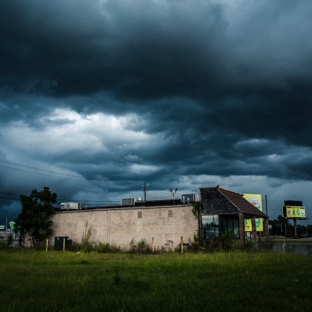 A storm approaching the Taco Bell parking lot in Adel, GA. Devonia Inman was convicted of a murder that happened in the parking lot of the Taco Bell in 1998.