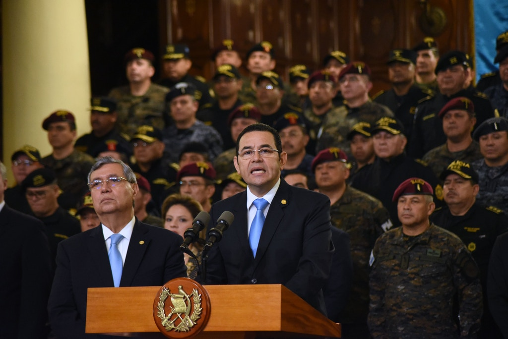 Guatemalan President Jimmy Morales delivers a press conference in Guatemala City on August 31, 2018. - Morales announced Friday Guatemala will not renew the mandate of a UN anti-corruption mission, which he accused of improper interference on internal matters of the country. (Photo by ORLANDO ESTRADA / AFP)        (Photo credit should read ORLANDO ESTRADA/AFP/Getty Images)