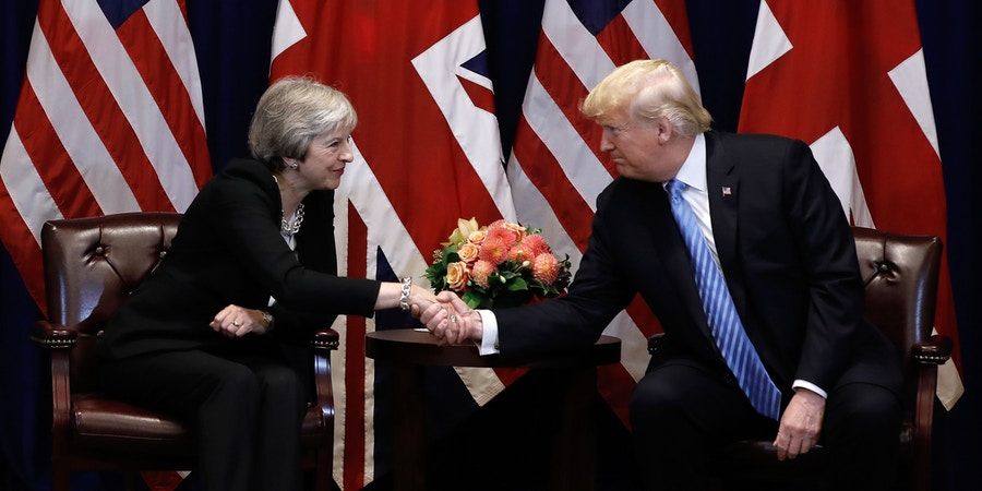 British Prime Minister Theresa May meets with US President Donald Trump, September 26, 2018 on the sidelines of the United Nations General Assembly (UNGA) in New York. (Photo by PETER FOLEY / POOL / AFP) (Photo credit should read PETER FOLEY/AFP/Getty Images)