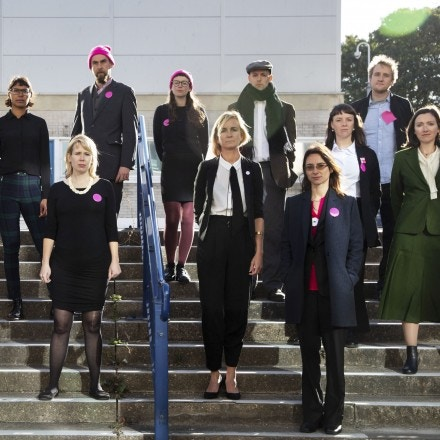 Outside Chelmsford crown court on the first day of the trial of the Stansted 15, on October 1st 2018 in Chelmsford, United Kingdom. The defendants and supporters gathered outside the court shortly before the trial starts. The 15 defendants are charged under terrorism legislation for stopping a deportation flight at Standsted airport in 2017. The flight was due to deport people back to Nigeria and Ghana with the action stoppiung the plane from taking off. Several of the deportees are still in the UK. (photo by Kristian Buus/In Pictures via Getty Images)