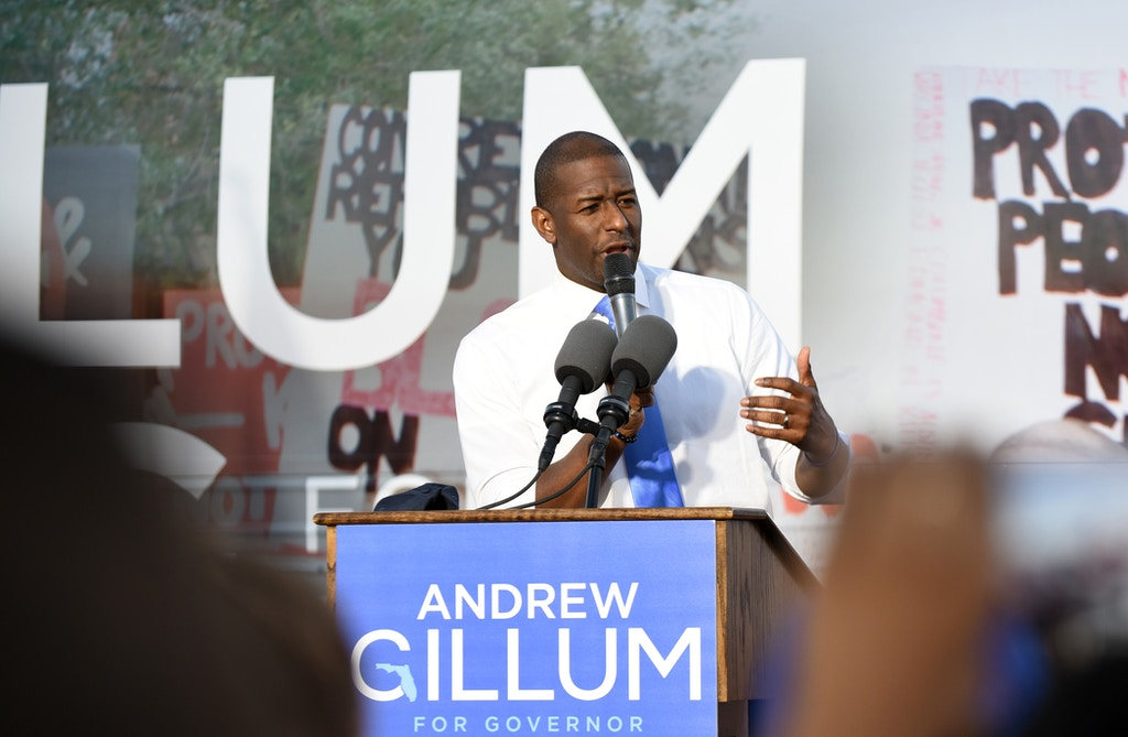 Florida Democratic gubernatorial nominee, Tallahassee Mayor Andrew Gillum, speaks to supporters at a rally on October 28, 2018 at Osceola Heritage Park in Kissimmee, Florida. With the election just over a week away, most polls give Gillum a slim lead over his GOP opponent, Ron DeSantis, in the Florida governor's race.  (Photo by Paul Hennessy/NurPhoto via Getty Images)