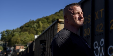 LOGAN, WV-October 19: West Virginia State Senator Richard Ojeda watches a passing coal train head straight through the town of Logan while recording campaign videos for his Congressional race in Southwestern, West Virginia on October 19, 2018. (Jeff Swensen for The Washington Post via Getty Images)
