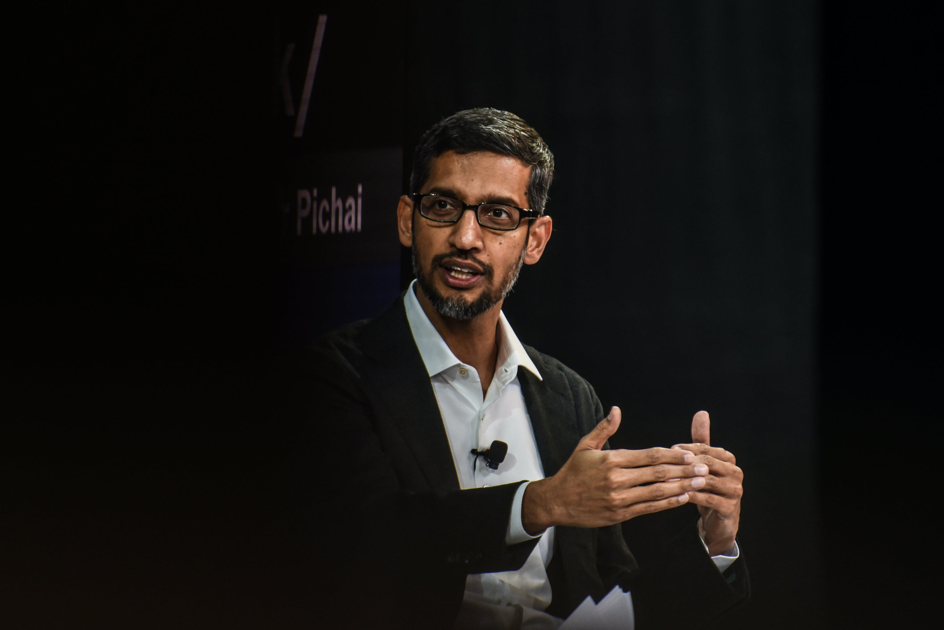 NEW YORK, NY - NOVEMBER 1: Sundar Pichai, Cd.E., Google Inc., speaks at the New York Times DealBook Conference on November 1, 2018 in New York. (Photo by Stephanie Keith / Getty Images)