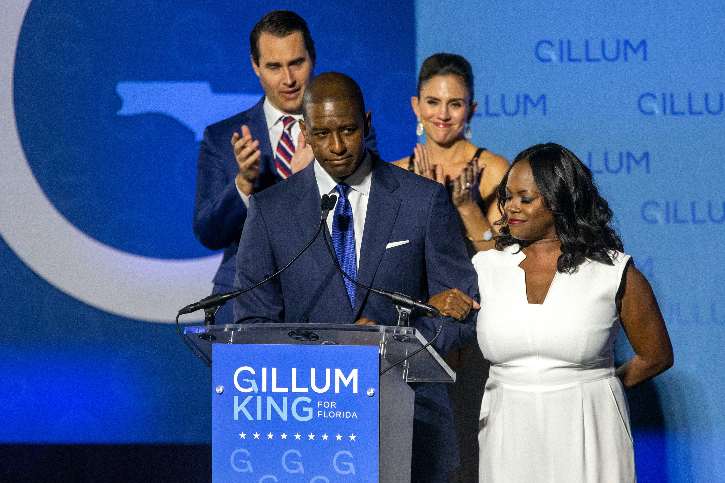 TALLAHASSEE, FL - NOVEMBER 06:  Democratic gubernatorial candidate Andrew Gillum gives his concession speech November 6, 2018 in Tallahassee, Florida.  Gillum fell short in his bid against Republican Ron DeSantis. (Photo by Mark Wallheiser/Getty Images)