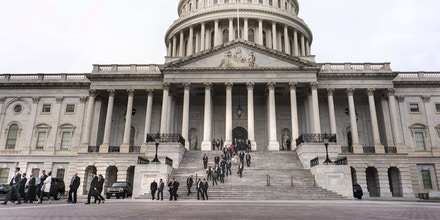 WASHINGTON, DC - On the US Capitol east front plaza 116th Congressional freshman Representatives walk down the east-front stairs for the Member-Elect class photo on the Capitol Hill in Washington, DC on Wednesday November 14, 2018. (Photo by Melina Mara/The Washington Post via Getty Images)