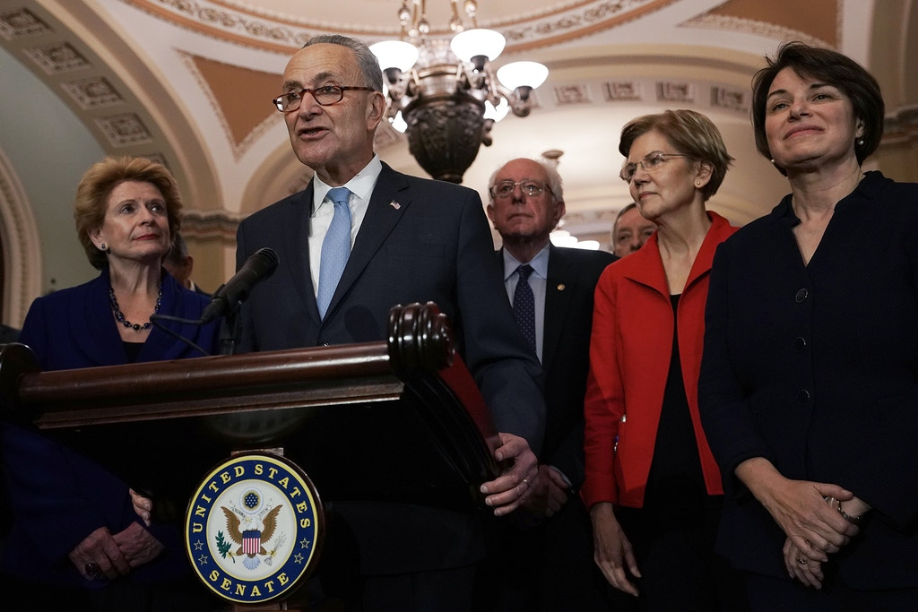 WASHINGTON, DC - NOVEMBER 14:  U.S. Senate Minority Leader Sen. Chuck Schumer (D-NY) speaks to members of the media as (L-R) Sen. Debbie Stabenow (D-MI), Sen. Bernie Sanders (I-VT), Senate Minority Whip Sen. Richard Durbin (D-IL), Sen. Elizabeth Warren (D-MA), and Sen. Amy Klobuchar (D-MN) look on after a leadership election November 18, 2018 at the U.S. Capitol in Washington, DC. Sen. Schumer has been re-elected to be the Senate Democratic leader.  (Photo by Alex Wong/Getty Images)