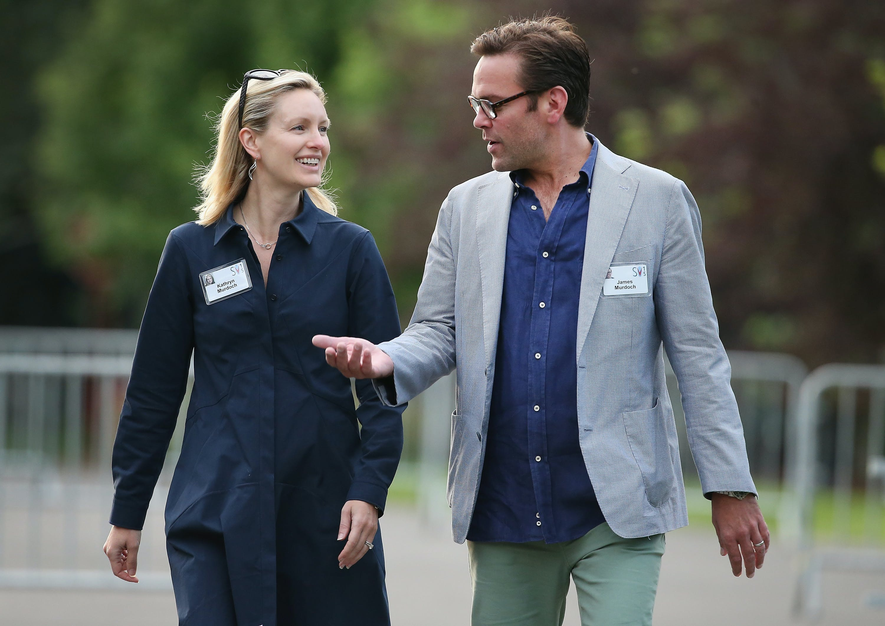 SUN VALLEY, ID - JULY 10: James Murdoch, chief executive officer of 21st Century Fox, and his wife Kathryn attend the Allen & Company Sun Valley Conference on July 10, 2015 in Sun Valley, Idaho. Many of the worlds wealthiest and most powerful business people from media, finance, and technology attend the annual week-long conference which is in its 33rd year. (Photo by Scott Olson/Getty Images)