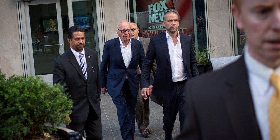NEW YORK, NY - JULY 21: Rupert Murdoch (C) leaves the News Corporation building with his son Lachlan Murdoch (2-R) on July 21, 2016 in New York City. Rupert Murdoch is taking over as Chairman and CEO of Fox News Channel after former Chairman and CEO Roger Ailes departed the company today amid sexual harassment charges. (Photo by Kevin Hagen/Getty Images)