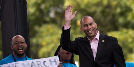 NEW YORK, NEW YORK - SEPTEMBER 28: U.S. Rep. Hakeem Jeffries (D-NY) waves as he takes the stage during an event supporting public charter schools and protesting New York's racial achievement gap in education, in Prospect Park, September 28, 2016 in the Brooklyn borough of New York City. The #PathToPossible rally and march, organized by the Families for Excellent Schools, is calling for New York City to double its public charter school sector to 200,000 students by 2020. An estimated 25,000 people attended the rally. (Photo by Drew Angerer/Getty Images)