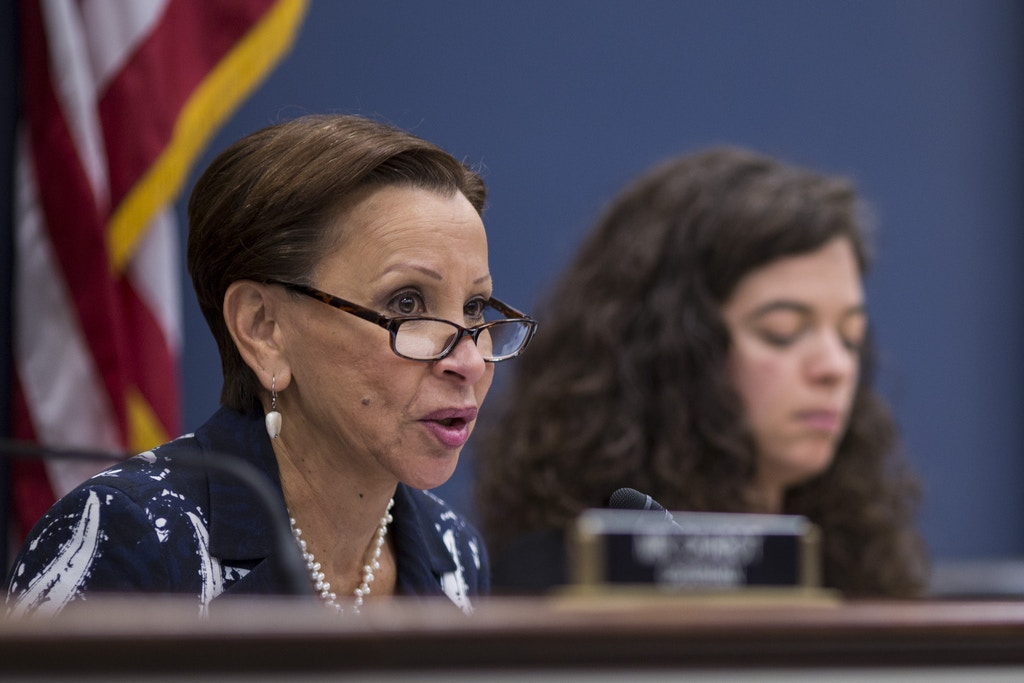 WASHINGTON, DC - JUNE 27: House Small Business Committee Ranking Member Nydia Velázquez (D-NY) speaks during a House Small Business Committee hearing on President Donald Trump's ban of Chinese Telecom Maker ZTE on Capitol Hill  June 27, 2018 in Washington, DC. (Photo by Zach Gibson/Getty Images)