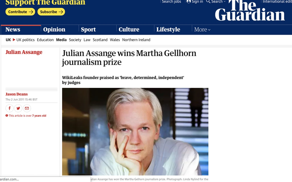 Assange wins Gellhorn Prize, from the Guardian
