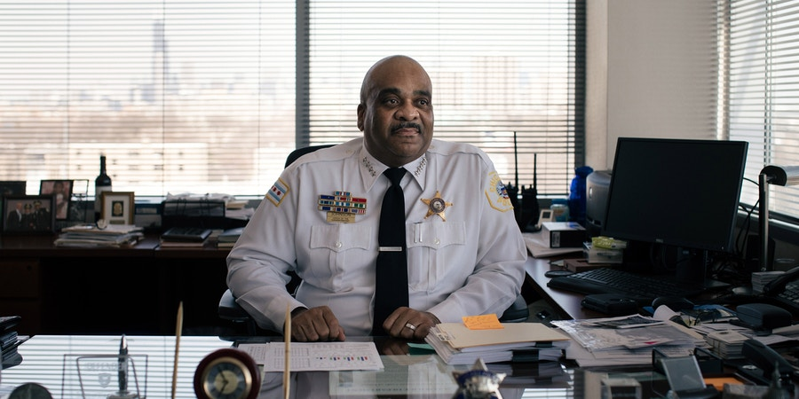 Police Superintendent Eddie Johnson in his office in Chicago on April 13, 2018. Video surveillance, the police say, is a game changer, with murder and gun violence significantly down this year. (Alyssa Schukar/The New York Times)