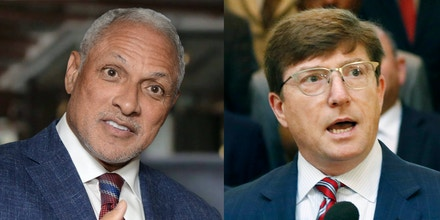 At left, Mike Espy, and at right, David Baria in Jackson, Miss., on Aug. 23, 2018.