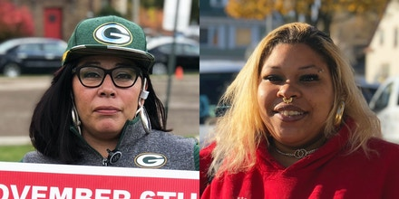 At left, Reyna Gengler canvassing in Milwaukee. At right, Precious Crawley.