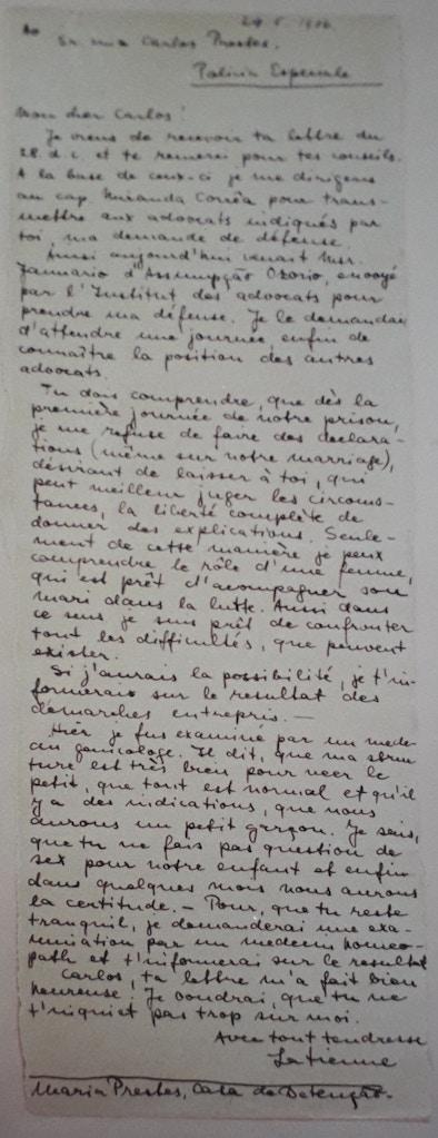 Carta de Olga Benario para Luiz Carlos Prestes, de 29 de maio de 1936, pertencente ao acervo do Arquivo Público do Estado do Rio de Janeiro