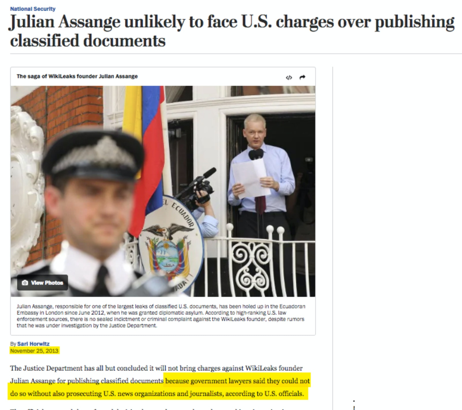 As The Obama DOJ Concluded Prosecution Of Julian Assange For
