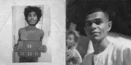 À esquerda o homem com quem Nelson, na foto à direita, foi confundido.