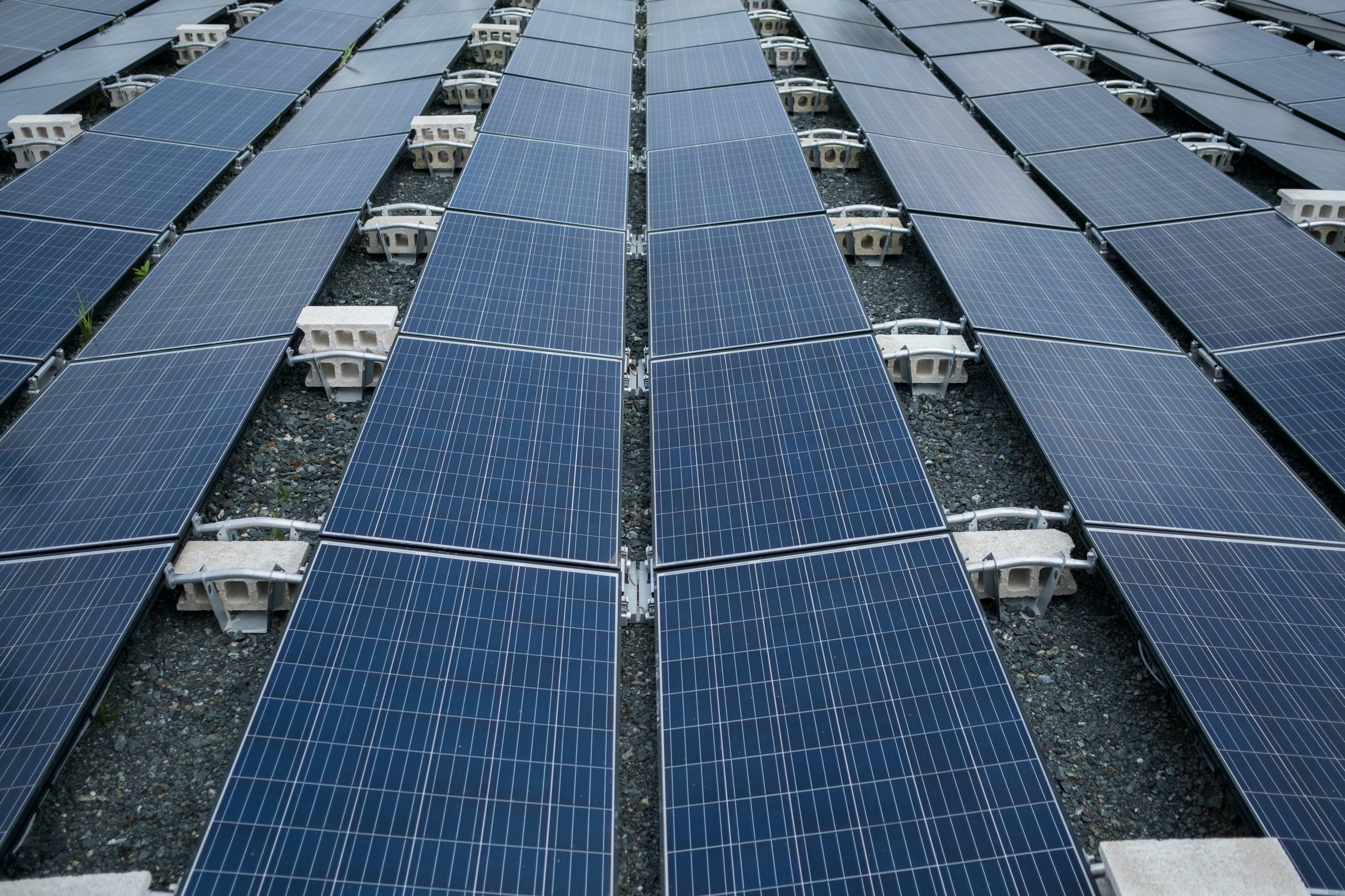 In this July 20 photo, solar panels installed by Tesla, power a community of 12 homes in the mountain town of Las Piedras, Puerto Rico. The homes still do not have power from the national grid, more than 10 months after Hurricane Maria and now is operating exclusively on solar energy. (AP Photo/ Dennis M. Rivera Pichardo)