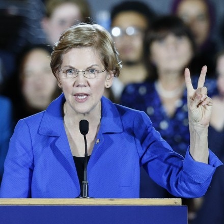Sen. Elizabeth Warren gives her victory speech at a Democratic election watch party in Boston, Tuesday, Nov. 6, 2018. (AP Photo/Michael Dwyer)