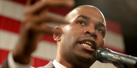 Democrat Antonio Delgado speaks after it was announced that he defeated incumbent Republican John Faso at a democratic watch party in Kingston, N.Y., Tuesday, Nov. 6, 2018. (AP Photo/Seth Wenig)