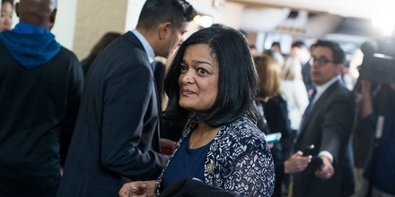 UNITED STATES - NOVEMBER 15: Rep. Pramila Jayapal, D-Wash., arrives for a meeting of the House Democratic Caucus in the Capitol on November 15, 2018. (Photo By Tom Williams/CQ Roll Call) (CQ Roll Call via AP Images)